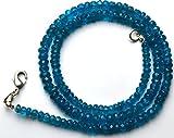 1filo naturale 44,5cm Strand, super finest-quality- neon Apatite blu micro sfaccettato rondelle collana da 3.5a 5mm