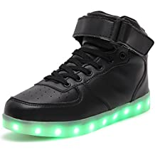HUSK'SWARE Couple Adultos Niño Top 7 Colores Light Up LED Deporte Zapatillas niña Carga del USB Zapatos Hombre Unisex