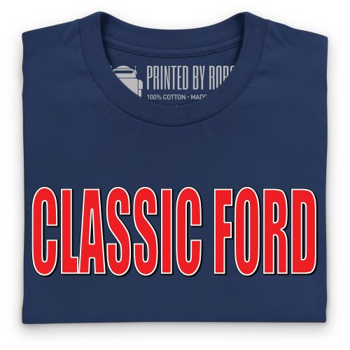Classic Ford Red Logo T-Shirt, Damen Dunkelblau