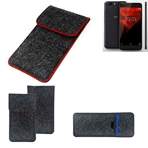 K-S-Trade® Filz Schutz Hülle Für -NOA H10le- Schutzhülle Filztasche Pouch Tasche Case Sleeve Handyhülle Filzhülle Dunkelgrau Roter Rand
