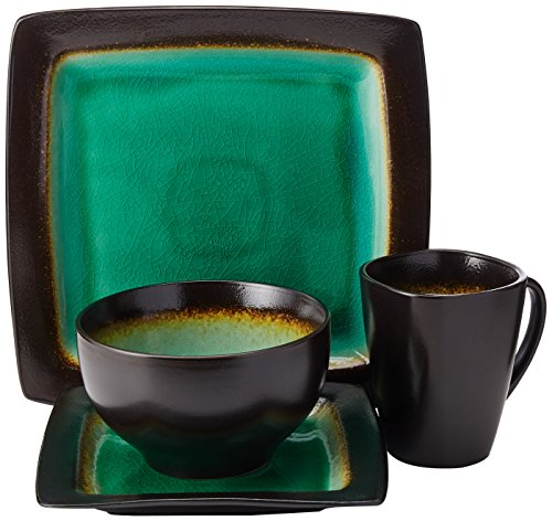 Gibson Elite Ocean Paradise Tafelservice 16-teilig jade 16-Piece grün - Crackle Glaze