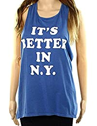 Max-MPH Retro Brand Womens Small Better In N.Y. Tank Top Blue S