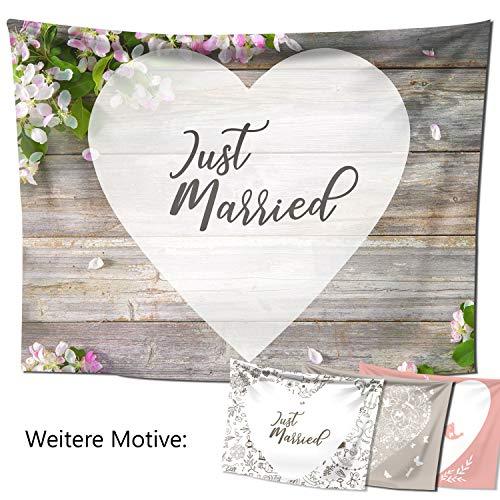 D&D Living Hochzeitslaken - Hochzeitsherz zum Ausschneiden, als Hochzeitsspiel fürs Brautpaar beim Standesamt, Großes Motiv (240x180 cm, Blütenholz)