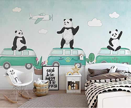 Glorious.Q Carta da Parati, Panda del Fumetto Bianco E Nero, Camion Fotomurali, Decorazione Murale, Rivestimento Murale, Murale 350x245cm