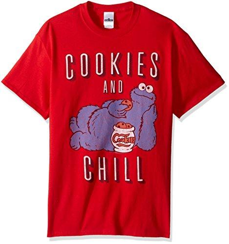Sesamstraße Herren T-Shirt Krümelmonster Chill - Rot - XX-Large (Street Für Erwachsene T-shirts Sesame)