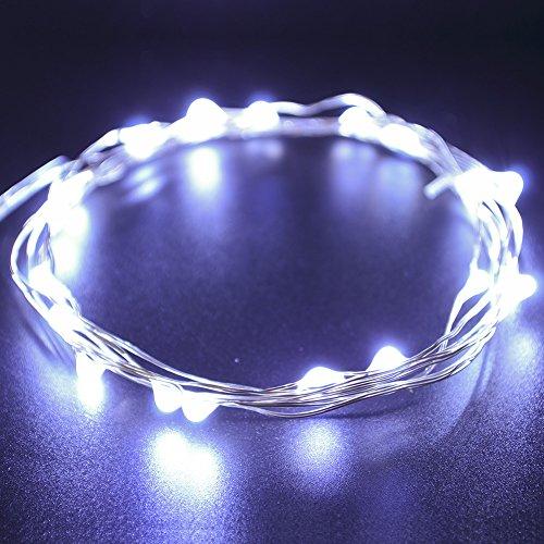 CrazyFire bianco freddo LED rame String luce 3m/3m 30LED impermeabile filo di rame stellato luci a batteria AA per albero di Natale, feste, matrimoni, giardino, festa, decorazione fai da te, 3