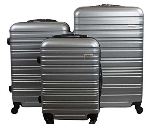 Dublin 3 set da 3 pezzi valige trolly in ABS e policarbonato con 4 ruote girevoli 360° gradi colori vari (rosso) (Argento scuro)