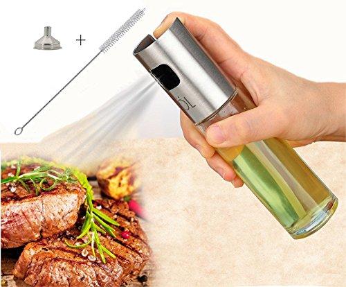 Shuxy Sprühflasche Kochen Balsamico Essig Soja Soße Wein-Sprüher Edelstahl-Ölflasche 100ml für Grillen Salat Brot Backen Grill mit Geschenken