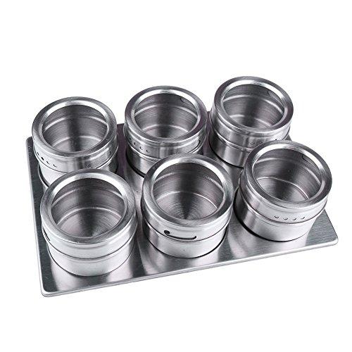6 Stück Metall Küche Würze Lagerung Tank Set Edelstahl Magnetische Gewürz Gläser mit Rack Set Praktische und langlebige Küche Zubehör Werkzeugkiste