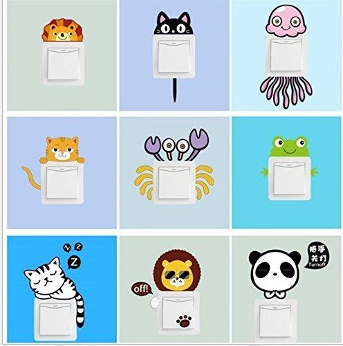 Treasure-house Licht-Schalter-Aufkleber, nette lustige Tier-Wand-Aufkleber durch Sunshine D heller Schalter-Dekor PVC-entfernbare Abziehbilder Kunst-Wandbild Baby-Kinderzimmer-Raum-Skelett