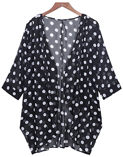 Tribear Damen Floral Bedruckt lose Kimono Cardigan Cover up Tops Chiffon Bluse (S, Schwarz5) (Floral Vertuschen)