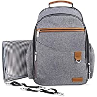 Baby nappy Backpack with Insulated Pockets Stroller Straps and Changing Pad-Grey