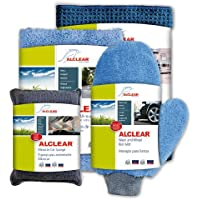 ALCLEAR 8201000 Professional Car Care Set 4 Pieces Dry Cloth / S-Sided Allrounder Cloth / Wash Cloth Glove / Micro Car Sponge preiswert