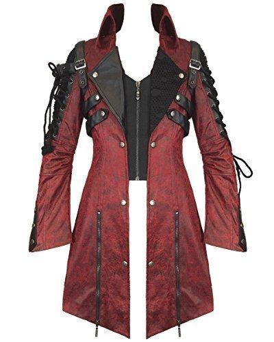 Punk Rave Veleno Giacca Da Uomo Rosso In Finta Pelle Nera Gotica Steampunk Cappotto Militare - sintetico, Rosso, 100% poliestere \n100% poliestere, Uomo, M, Rosso