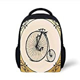 Kids School Backpack Bicycle,Retro Big and Small Tired Bicycle on A Vintage Round Framed Floral Background Boho,Tan Cream Plain Bookbag Travel Daypack