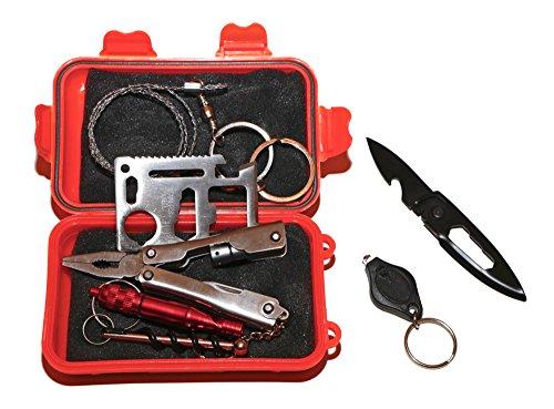 ETU24 Überlebensausrüstung 23 in 1 Notfall Survival Kit mit 23 Funktionen Werkzeug Set Outdoor Box Überlebenspaket mit Multifunktionswerkzeug, Signalpfeife, Korkenzieher, Handkettensäge, Klappmesser, Taschenlampe uvm. für Camping Wandern Reisen Jagd uvm. Direktversand aus Deutschland von ETU24