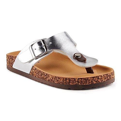 Damen Riemchen Sandalen Zehentrenner Komfort Sandaletten Lack Schlappen Hausschuhe Pantoletten Schuhe Silber-3 EU 41 (Pantoletten Sportliche)