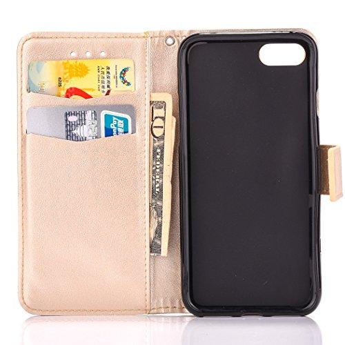 Custodia per Apple iPhone 7, ISAKEN iPhone 7 Flip Cover con Strap, Elegante Bookstyle Contrasto Collare PU Pelle Case Cover Protettiva Flip Portafoglio Custodia Protezione Caso con Supporto di Stand / Oro