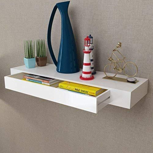 Vislone Wandregal Schweberegale mit 1 Schublade Wandboard Kreatives Lounge Cube Regal Hängeregal Badezimmerschrank 80 x 25 x 8 cm( -