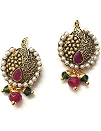 AKSHAJ Ethnic Copper Gold With Pearls And Stones Traditional Earrings Small Round Antique Studs Tops For Women...
