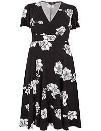 e5a56e26de Yours Clothing Women s Plus Size Floral Jersey Wrap Dress with Waist Tie