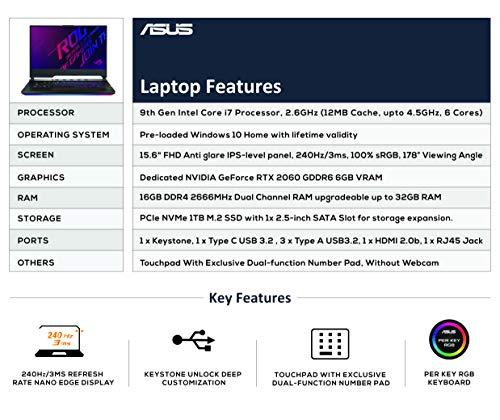 ASUS ROG Strix Scar III G531GV-AZ289T 15.6″ FHD 240Hz Gaming Laptop RTX 2060 6GB Graphics (Core i7-9750H 9th Gen/16GB/1TB SSD/Windows 10 Home(64bit)/GDDR6 6GB Graphics), Gunmetal Gray