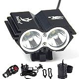 Nestling® 5000 Lumens U2 XML 2 CREE LED Bicycle Bike Light Headlamp with 4x18650 Battery Pack and Rear Light(Black)