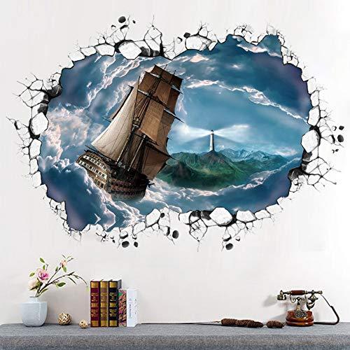 Cloud Wandtattoo (JJZZ Wandtattoos 3D Wandaufkleber Cloud Sea Navigation Abnehmbare Schlafzimmer Wohnzimmer Dekoration Wasserdichte Wandaufkleber 60 * 90 cm Typografie)