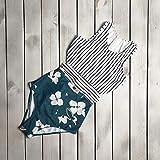 Tyoby Damen sexy gestreifte Blätter Zip Weste Riemen Bikini einteiliger Badeanzug,Die schönste Landschaft am Stran