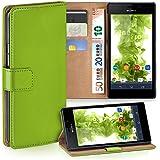 OneFlow Tasche für Sony Xperia M2 / M2 Aqua Hülle Cover mit Kartenfächern | Flip Case Etui Handyhülle zum Aufklappen | Handytasche Schutzhülle Zubehör Handy Schutz Bumper in Hellgrün