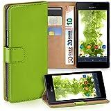 moex Sony Xperia M4 Aqua | Hülle Grün mit Karten-Fach 360° Book Klapp-Hülle Handytasche Kunst-Leder Handyhülle für Sony Xperia M4 Aqua Case Flip Cover Schutzhülle Tasche