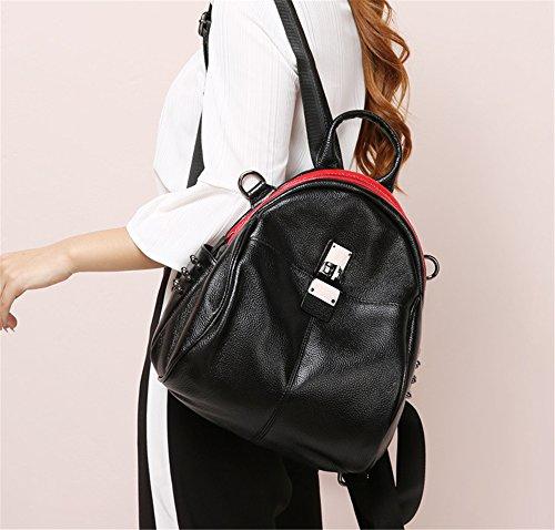 XinMaoYuan borsa tracolla in pelle di vacchetta Borsa da donna Multi-Purpose Wild Scuola semplice vento piccolo zaino,Nero Nero