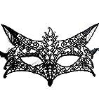 Maschera per Costume Gatta - Veneziana - Travestimento - Carnevale - Halloween - macramè - Colore Nero - Adulti - Donna - Ragazza - Idea Regalo per Natale e Compleanno