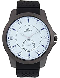 LUCERNE Analogue White Designer Dial Black Leather Strap Casual Watches For Men A Modern Men Watch Gifts For Friends