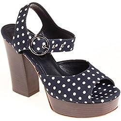 Strenesse Damen Pumps Halbschuh Sandale Dunkelblau Weiß, Schuhgröße:38