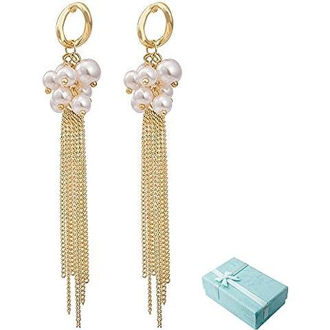 Acxico artificiale di perline con oro Orecchini a sospensione in metallo, nappe, lunghe - Oro Lungo Diamante Set