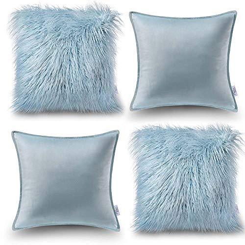 Oreiller Quatre Pièces En Coton De Couleur Unie Housse De Coussin De Canapé Salon Peluche Velvet Core Oreiller (Couleur : Bleu, taille : 60 * 60cm)