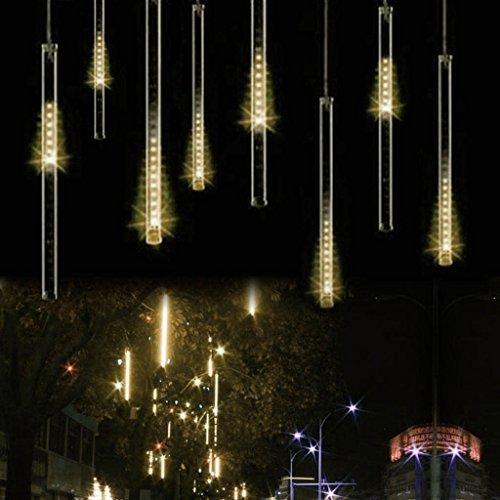 HanLuckyStars Cadena de Luces LED, 30cm 8 Tubo Impermeable Meteoros Lluvia Luces para Fiestas, Boda, Halloween, Navidad y Decoración de Paisaje y Jardín (Blanco Cálido)