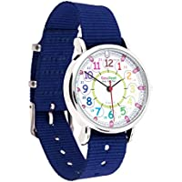 Orologio per bambini EasyRead Time Teacher, Digitale con indicazione 12 e 24 ore, Quadrante nei colori dell'arcobaleno, Cinturino blu navy