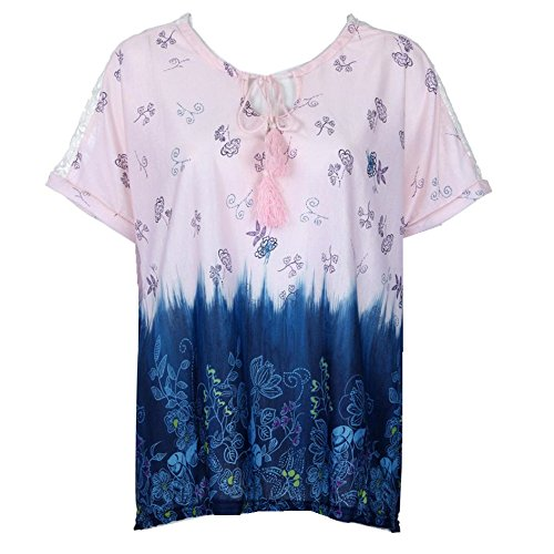 OverDose Damen Blumen Spitze Tops Frauen Kurzarm V-Ausschnitt Spitze Gedruckte Lose T-Shirt Bluse Oberteile Tees Shirt(X-d-Pink,L) (Line Short Sleeve Tee)