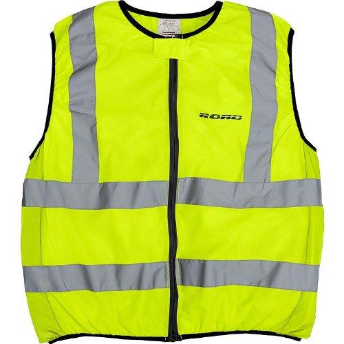 Preisvergleich Produktbild Road Warnweste Motorrad, reflektierende, gelbe Warnschutzweste mit Reißverschluss, reflektierende Streifen, dehnbare Elemente, Warnweste gelb, XXL