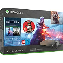 Xbox One X 1TB Gold Rush Special Edition console Battlefield V Bundle + Apex Legends Founders Pack (Xbox One)