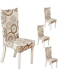 Teerfu Coprisedia, 4 pezzi,protezione elasticizzata rimovibile in spandex per sedie da pranzo, ultra aderente, per banchetti, hotel e cerimonie nuziali, lavabile Color 6