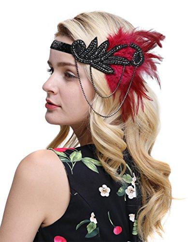 (FAIRY COUPLE Inspiriert 1920er Flapper Stirnband Zubehör Gatsby Style 20er Jahre Kopfstück(Rot))