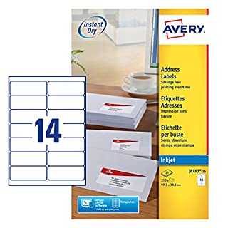 Avery J8163-25 (99.1 x 38.1mm) A4 Self-Adhesive Address/Mailing Labels, 14 Labels per A4 Sheet ,white