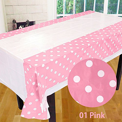 m Polka Dots Party Kunststoff Tisch Cover Kids Birthday Party Decor rose (Rosa Kunststoff-tabelle-cover)