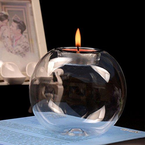 Gulin Runder Kristall Kerzenhalter aus Glas, 1 Set