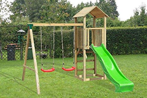 Preisvergleich Produktbild Spielturm aus Holz mit Schaukel und Rutsche