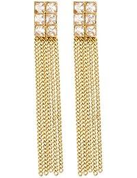 Homies International Gold Kundan Pearl Jhumka Earrings For Women & Girls
