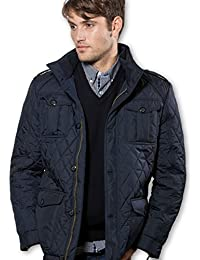 Vedoneire Mens Quilted Four Pocket Jacket (3074) Navy blue diamond pattern quilt coat